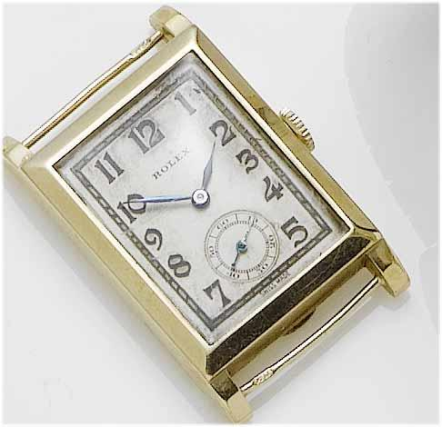 Rolex. A 9ct gold rectangular wristwatch Glasgow Import Mark for 1937