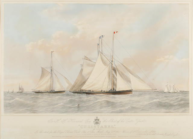 Vincent Brooks (British, 1814-1885), after Josiah Taylor The cutter yacht Cristabel at the start of the Royal Thames Yacht Club match 1862