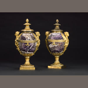 A pair of ormolu and blue john vases, by Matthew Boulton