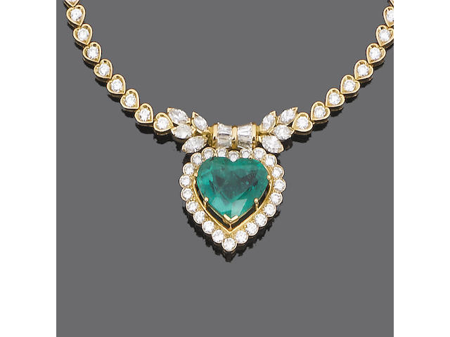 An emerald and diamond pendant necklace