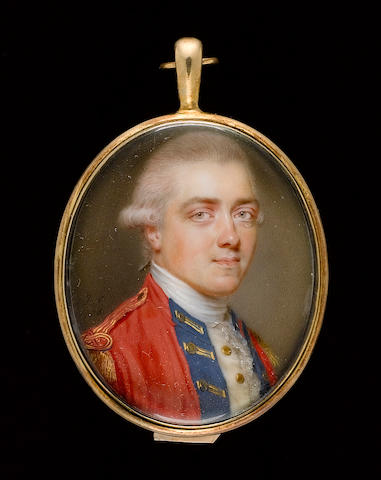 (n/a) John Smart (British, 1742/3-1811) An Officer, wearing scarlet coat with blue facings and gold epaulettes, white waistcoat, lace cravat and powdered wig worn en queue with a grey ribbon