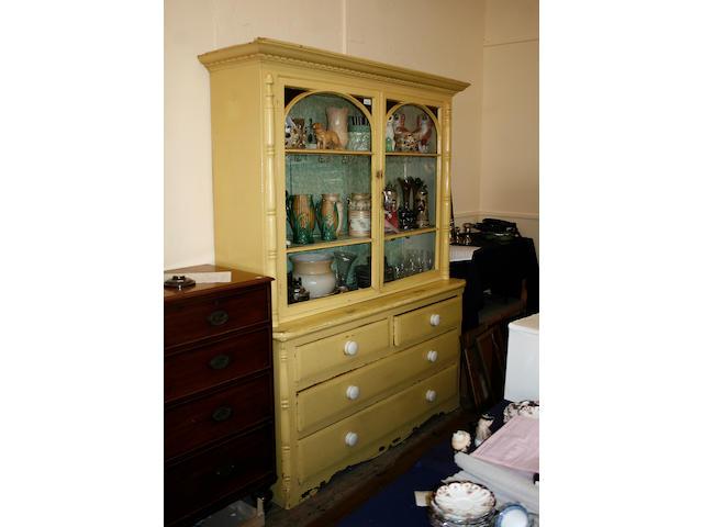 A Victorian painted pine dresser,