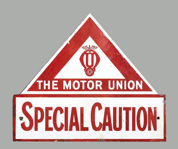 A rare Motor Union Special caution enamel sign,