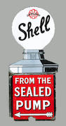 A rare Shell 'From The Sealed Pump' enamel sign,