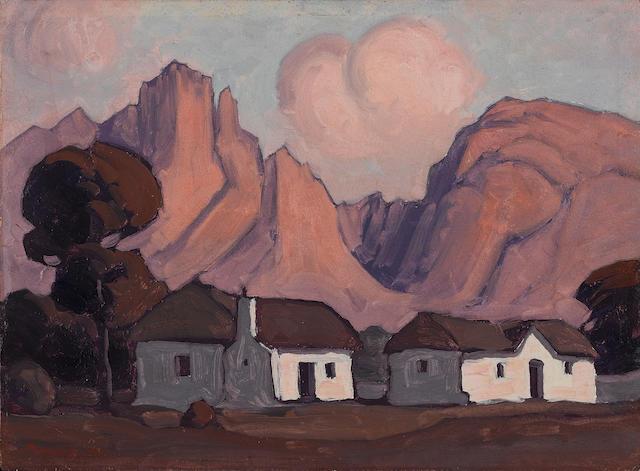 Jacob Hendrik Pierneef (South African, 1886-1957) Near Franschhoek, Western Cape 29.5 x 40.5 cm. (11¾ x 16 in.)