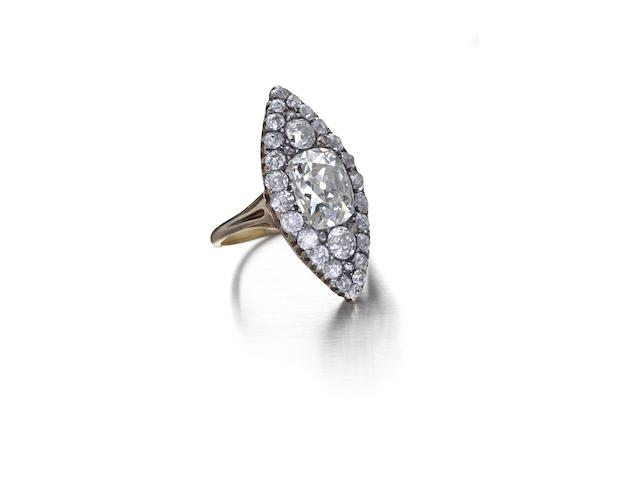 A Victorian diamond marquise-shaped ring