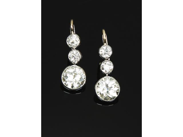 A pair of diamond earrings