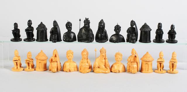 A very good mid-20th century Nigerian chess set by J. D. Akeredolu