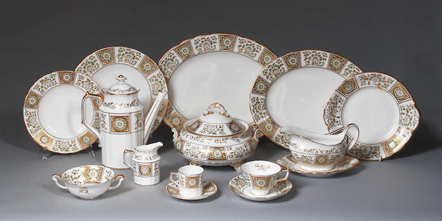 "A Royal Crown Derby ""Green Derby Panel"" pattern dinner, tea and coffee service,"