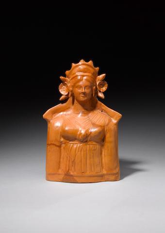 A Hellenistic hollow terracotta bust of a goddess