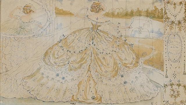 Konstantin Andreevich Somov (Russian, 1868-1939) Chansons sans paroles  9.2 x 16 cm. (3 1/2 x 6 1/4