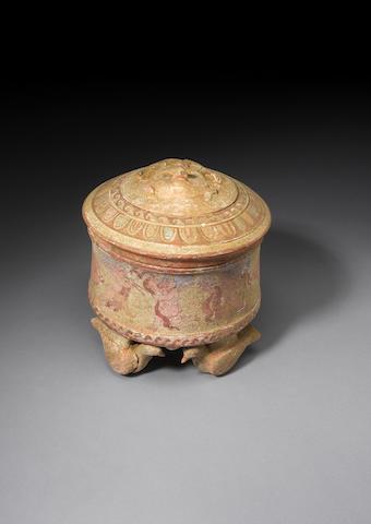 A large Canosan polychrome lidded pottery pyxis