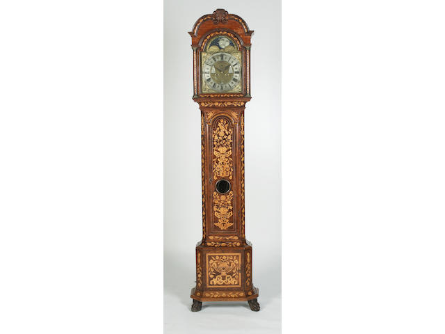An 18th century Dutch walnut and floral marquetry inlaid longcase clock Paulus Bramer, Amsterdam