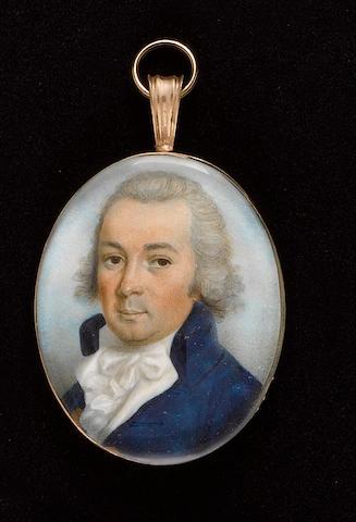 Thomas Hazlehurst (British, circa 1740-circa 1821) A Gentleman, wearing blue coat, white waistcoat, frilled chemise and tied white cravat