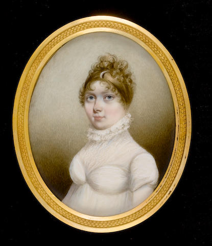 N.  Freese (British, active 1794-1814) A Lady, wearing white dress, white fill-in with ruched neck, her hair upswept and decorated with a pearl encrusted slide