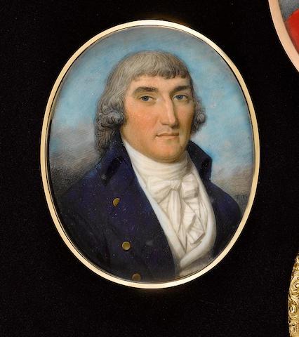 Thomas Hazlehurst (British, circa 1740-circa 1821) A Gentleman, wearing blue coat with gold buttons, white waistcoat, frilled chemise and tied cravat