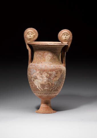A large Canosan pottery volute krater