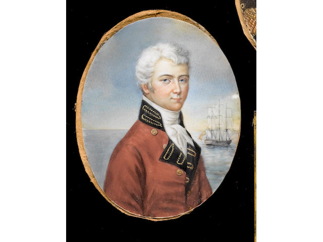 English School, 19th Century A Gentleman, wearing red coat with dark blue facings and collar embroidered with gold thread and white cravat, a three-masted sailing ship in the distance