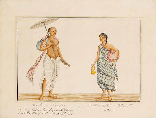 Two paintings of Priests Malabar Coast, circa 1880(2)