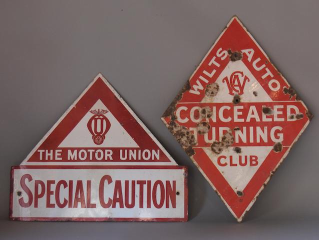 A rare Motor Union Special caution enamel sign,