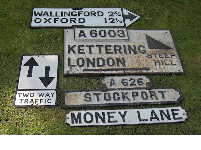 Assorted road and street signs,