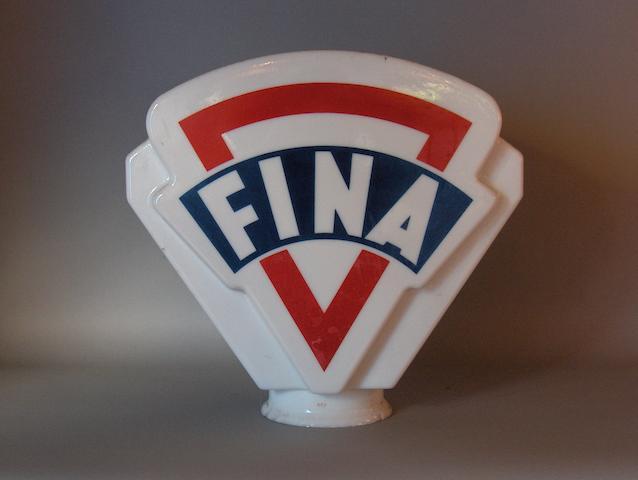 A Fina glass petrol pump globe,