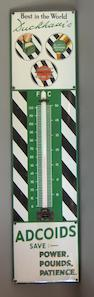 A good Duckhams Adcoids enamel advertising thermometer,