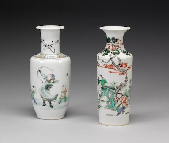 Two famille verte vases;
