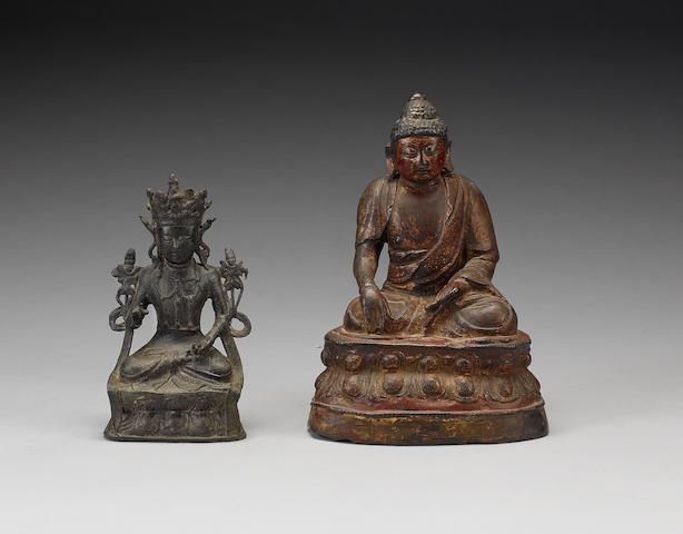 Two bronze figures of Buddhist Deities;