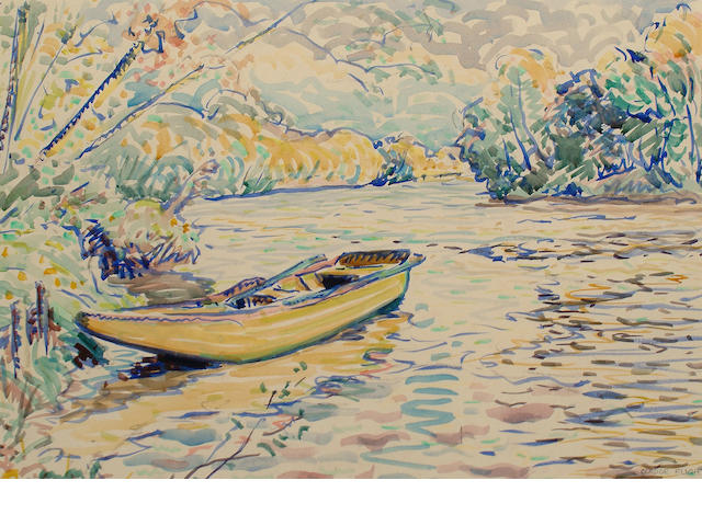 Claude Flight (British, 1881-1955) Rowing boat on a river