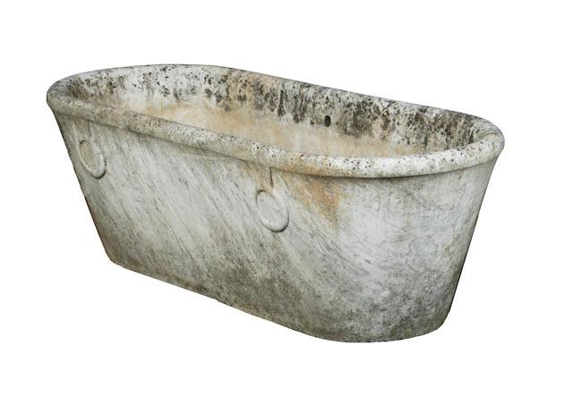 An Empire period white marble bath