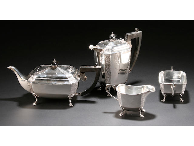 A four piece tea and coffee service by J.Gloster Ltd, Birmingham 1939