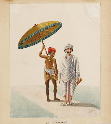 A group of twenty watercolours depicting fakirs, servants, a schoolmaster, a nobleman and street ven