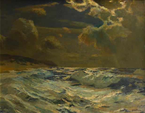 Julius Olsson (British, 1864-1942) Stormy night, near Lands End 90.5 x 114.5 cm. (35 5/8 x 45 in.)