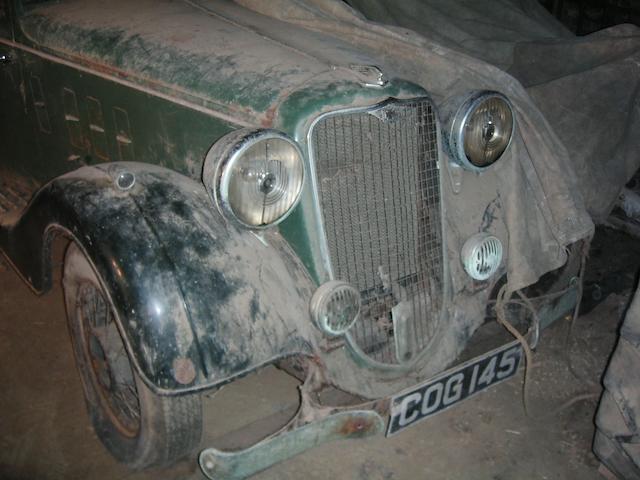 1936 Crossley Ten Regis Saloon  Chassis no. 100504 Engine no. MC 1350