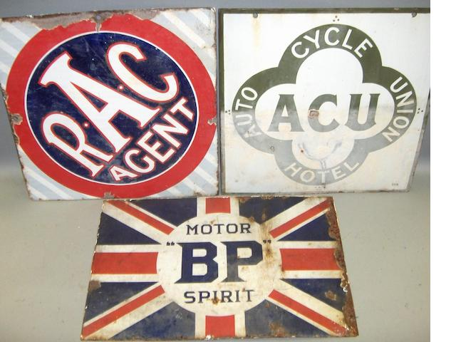 Three double-sided enamel signs,