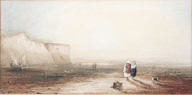 Follower of Anthony Vandyke Copley Fielding, P.O.W.S. (British, 1787-1855) Shore scene with figures, 17 x 34cm.