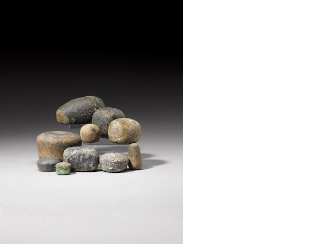 A group of ten Egyptian stone weights (#45) (10)
