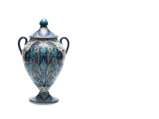 William De Morgan A Rare Persian Foliage Twin-Handled Vase and Cover, circa 1890