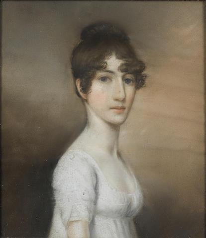 Circle of Ellen Wallace Sharples (British, 1769-1849) a portrait of a young woman 21.5 x 19cm.