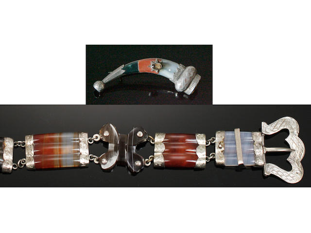 A Scottish pebble buckle bracelet and a horn-shaped brooch (2)