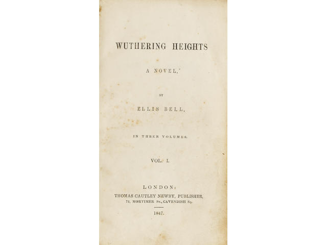 BRONTE (CHARLOTTE)] Wuthering Heights. A Novel, by Ellis Bell [-Agnes Grey. A Novel, by Acton Bell],