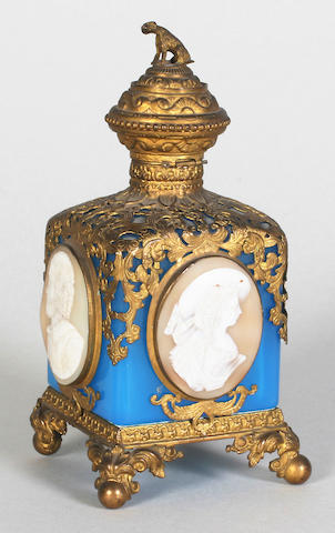 An ornamental French blue glass square section scent bottle, circa 1900