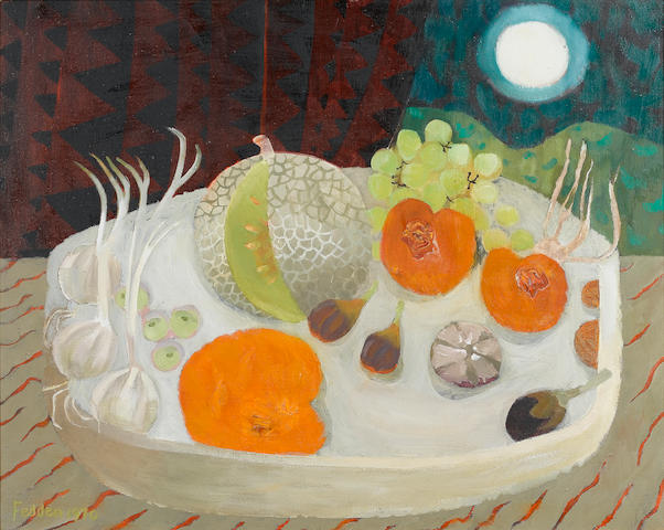 Mary Fedden R.A. (British, born 1915) Still life of fruit on a table top 61 x 76.2 cm. (24 x 30 in.)