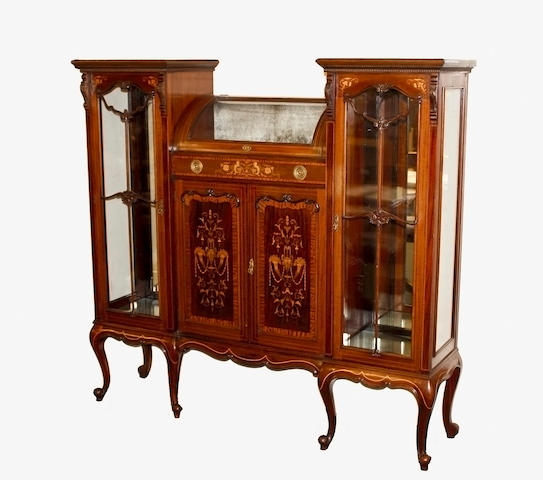 An Edwardian mahogany marquetry display cabinet