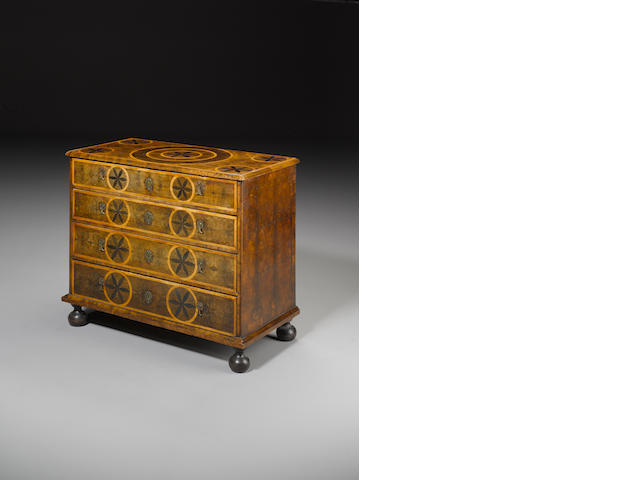 A William and Mary walnut oyster-veneered, syacmore and ebony marquetry Chest
