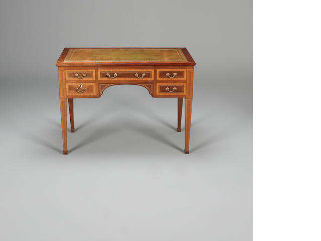 An Edwardian mahogany and satinwood banded ladies writing desk
