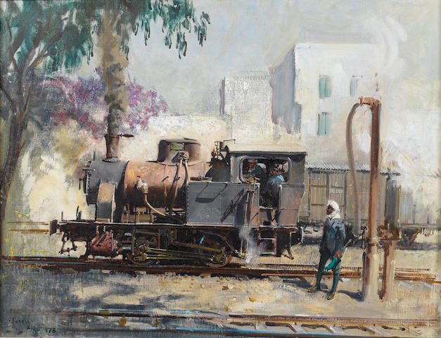 Terence Cuneo (British, 1907-1996) A Tank Engine 51 x 66 cm. (20 x 26 in.)