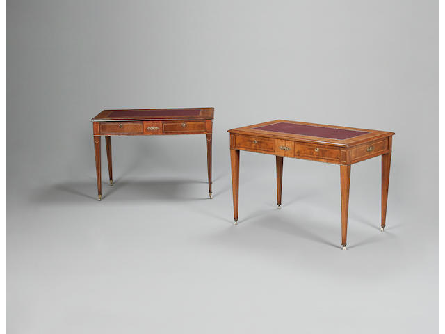 A fine near pair of mid-Victorian inlaid walnut and rosewood writing tables stamped H. Mower & Stephens, London