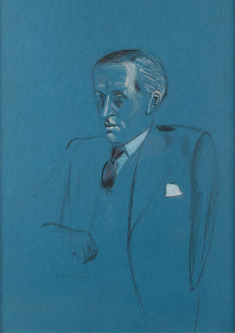 Percy Wyndham Lewis (British, 1882-1957) Portrait of F.W. Heath 54.5 x 39.5 cm. (21 1/2 x 15 1/2 in.)
